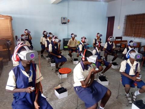 Jibowu High School Students have a class in the school's VR lab - November 2019