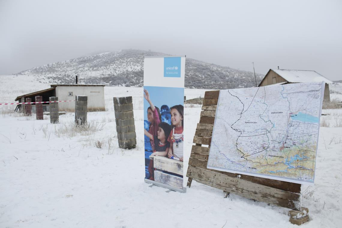 UNICEF Banner on site at Kazakhstan drone corridor