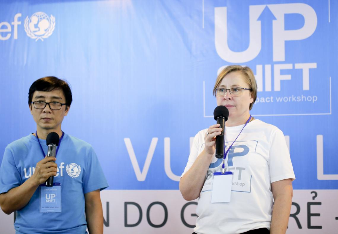 From left to right: Mr.Tran Cong Binh (Child Protection Specialist) and Mrs.Marianne Oehlers (Chief Programme Partnerships Office) from UNICEF Vietnam. UPSHIFT Workshop.