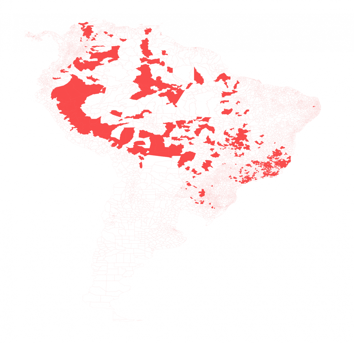Reported cases of yellow fever in the Americas. Counties in red have recorded at least one case between 2000 and 2018.