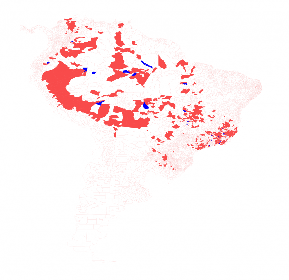 Predicted cases: counties where the algorithm correctly predicted yellow fever cases are colored in red, and counties where the algorithm incorrectly predicted cases are shown in blue.