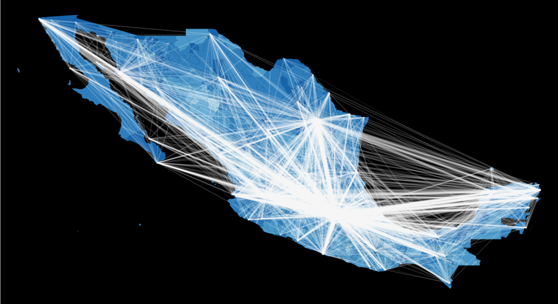 Figure of a data visualization map of the ~2500 municipalities of Mexico colored according to their HDI, the brighter color the higher the HDI. Lines reflect flows of people between municipalities