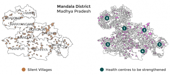 Map of Mandala District showing silent villages and health centres to be strengthened