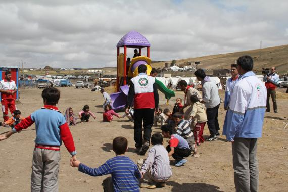 Children are playing in a Red Crescent center