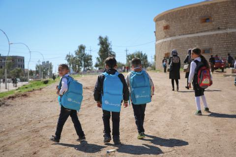 Children are going to school in Akre Camp
