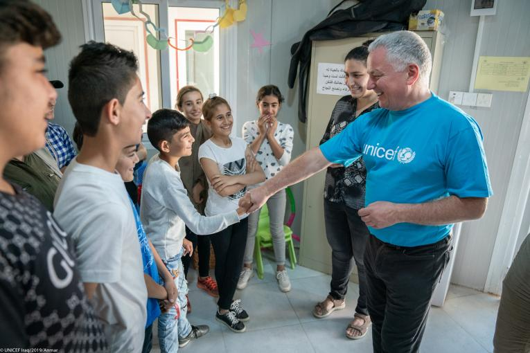 Britain's Lord Jack McConnel visits UNICEF-supported schools and projects in Iraq