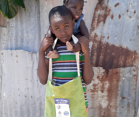 These children were among those in Annotto Bay and Dover, St. Mary to receive educational kits in the latest distribution for young children in previously quarantined communities to help them keep learning at home during COVID-19 pandemic.