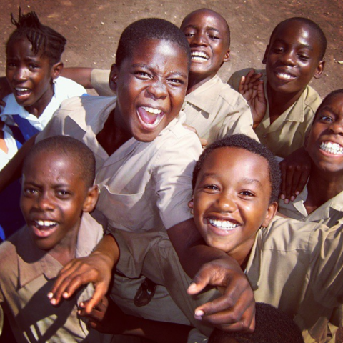 Photograph of happy schoolchildren