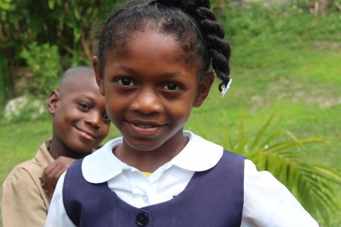 Photograph of a girl at school in Jamaica