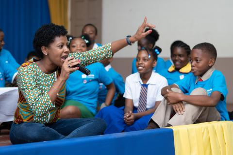 Photograph of Emprezz Golding at the Children's Townhall held in May Pen, Clarendon on October 24, 2019, organised by UNICEF, the Office of the Children's Advocate and Talk Up Yout.