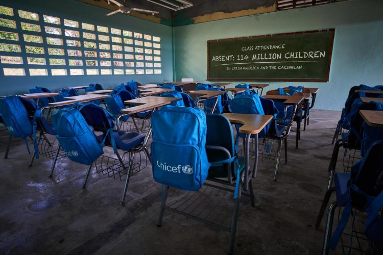 "UNICEF's ""Pandemic clasroom"" backpack installation in an empty school in Latin America and the Caribbean. 114 million students are still affected by the total or partial closure of their schools according to the latest figures reported by the UNICEF regional office. Children have missed an average of 158 school days without face-to-face classes since the pandemic began. Photo assets for the reopening of schools campaign in Latin America and the Caribbean: #SchoolFirstNotLast"