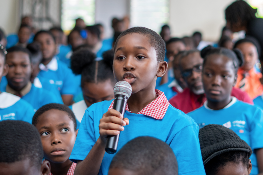 Keino King, aged 10, addresses an #ENDviolence Townhall in Clarendon.