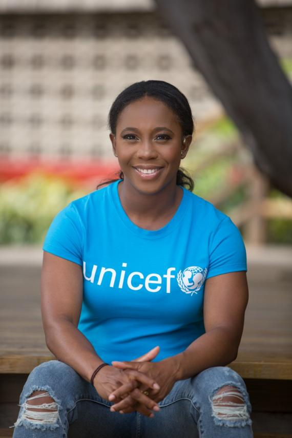 Photograph of UNICEF Jamaica Goodwill Ambassador Shelly-Ann Fraser-Pryce