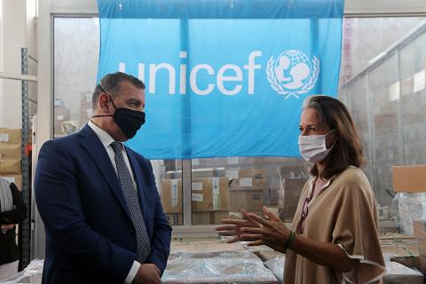 Minister of Health, Dr. Saad Jaber, with UNICEF representative, Tanya Chapuisat, at the Ministry of Health Warehouses in Zarqa during the ventilators handover event.