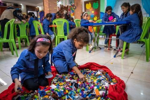 Children in Jordan learning through play with UNICEF and the LEGO Foundation