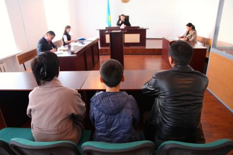 October 2016, specialised court for minors Kyzylorda city, Kazakhstan. Today's case is an adoption. A woman is in court with her son and her second husband who is trying to adopt the boy she had in her previous marriage, the previous husband left the family years back.