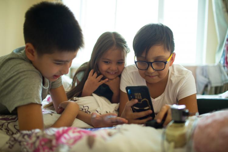 Children with phone