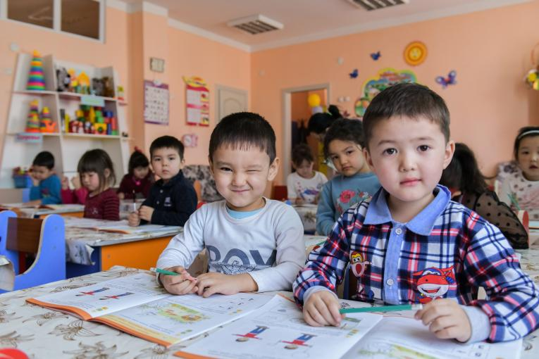 Children in a kindergarten in Turkestan, Kazakhstan