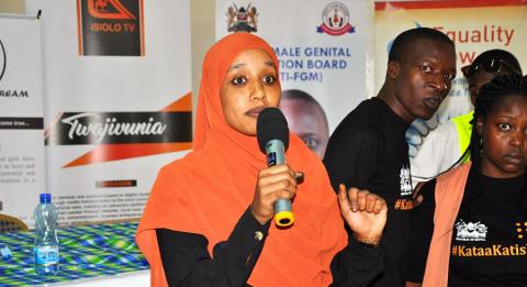 Aisha Hussein addressing young people at the End FGM event in Isiolo