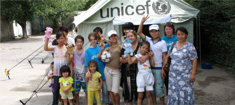Children near the UNICEF tent