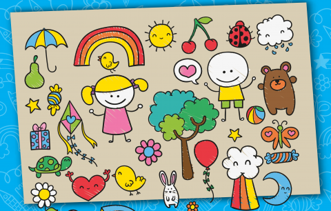 Colorful illustration about children