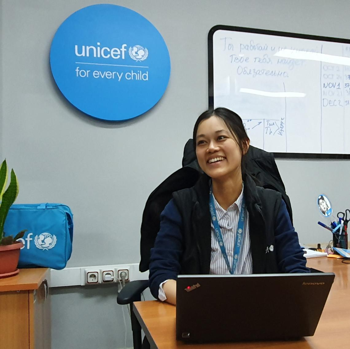 Eri Nakamura, a United Nations Volunteer (UNV) working for UNICEF in Kyrgyzstan