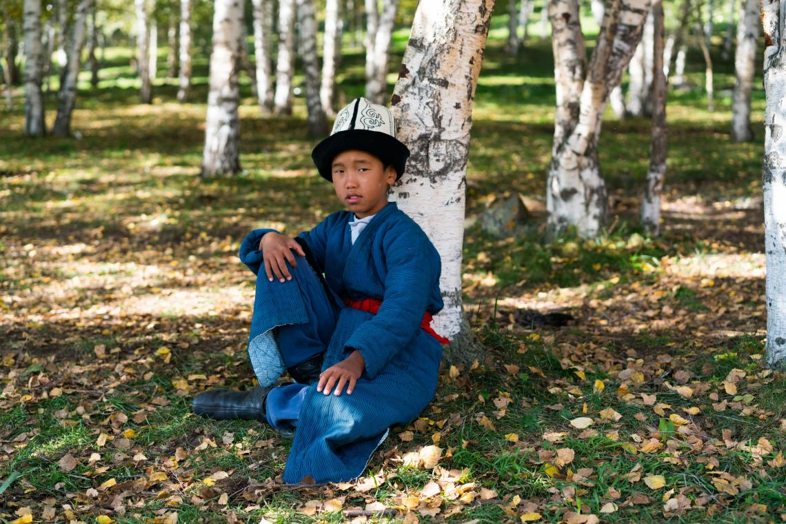 Bektemir in national Kyrgyz outfit, Kyrchyn valley, Issyk-Kul province