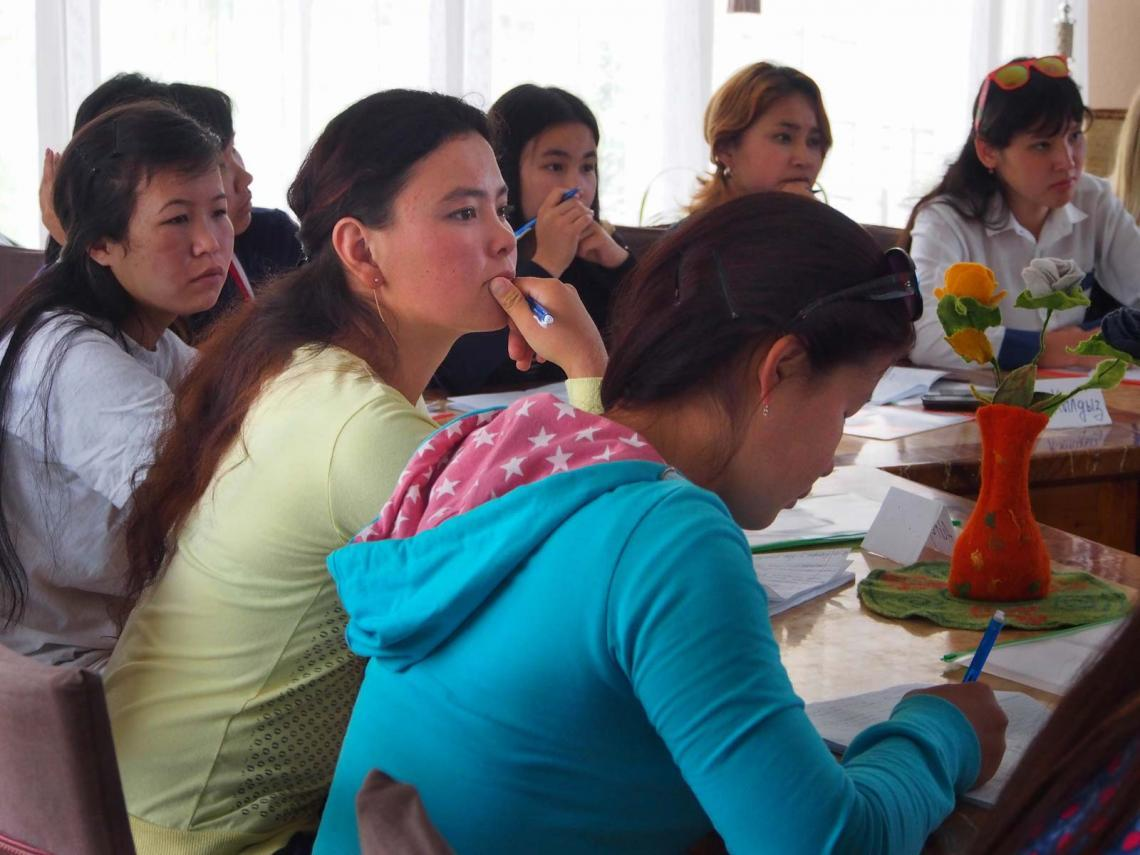 Focused in class: Aigerim (centre) at the training of trainers.