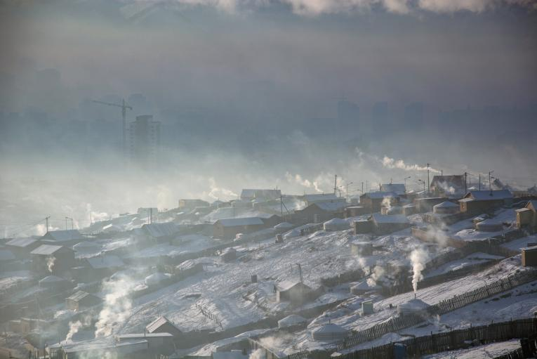 Air Pollution photos in urban Ger districts, Bayangol Districts, Ulaanbaatar city, Mongolia.