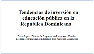 Portada Investment trends in public education in the Dominican Republic