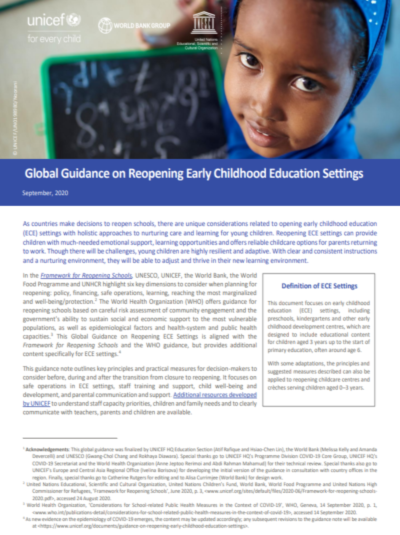 Global Guidance on Reopening Early Childhood Education Settings