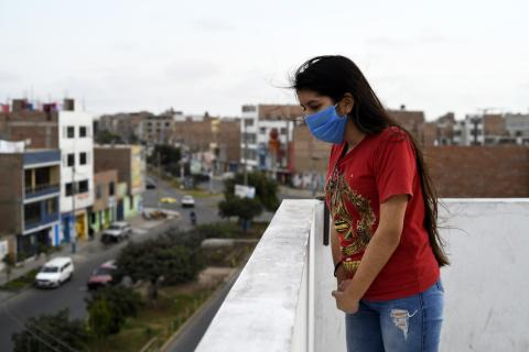 Daniela Sánchez Rosales (15) on the rooftop of the small dwelling she occupies with her family in San Martin d ePorres district in Lima, Perú, on september 23rd, 2020.