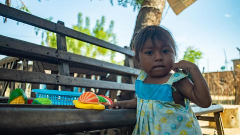 Anita, 4-year-old, playing at the courtyard of her house, in Zulia, on January 31, 2020