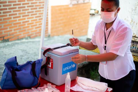 A nurse prepares vaccines during a vaccination day supported by UNICEF in Catia community located in Caracas, Venezuela on September 09, 2020.