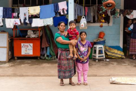 Isabela Castilla, her son Sergio Tzoy, 3, and her daughter Juana Jennifer Tzoy, 9, in Campur, during the aftermath of hurricane Eta, November 5th and Iota struck with devastating consequences November 17, the town of Campur, San Pedro Carchá, Alta Verapaz, Guatemala.