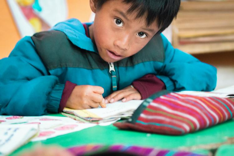A young boy looks at the camera while studying with his notebook.