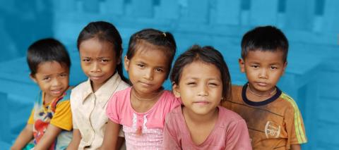 Children in the Oudomxay school camp, Sanamxai district, Attapeu province, Lao PDR