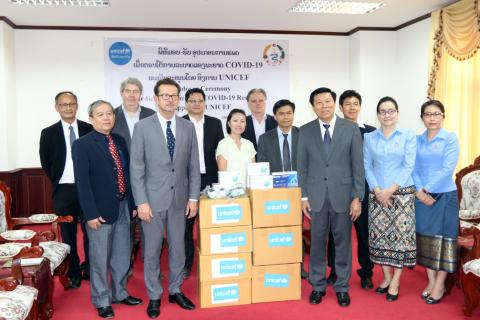 UNICEF hands over personal protective equipment (PPE) to the Ministry of Health to support the country's response and preparedness for COVID-19