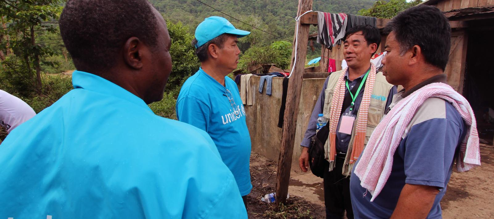 UNICEF Staff work on emergency in Ban Bok, Sanamxai district, Attapeu province, Lao PDR