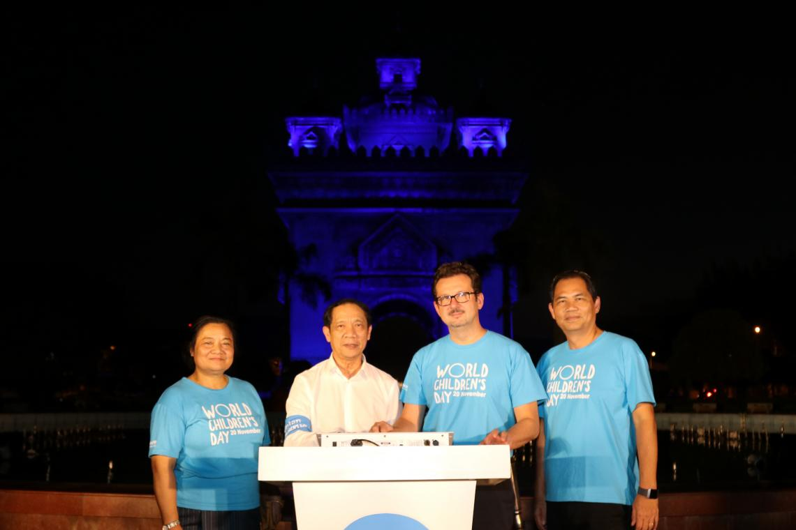Laos goes blue in support of children's rights
