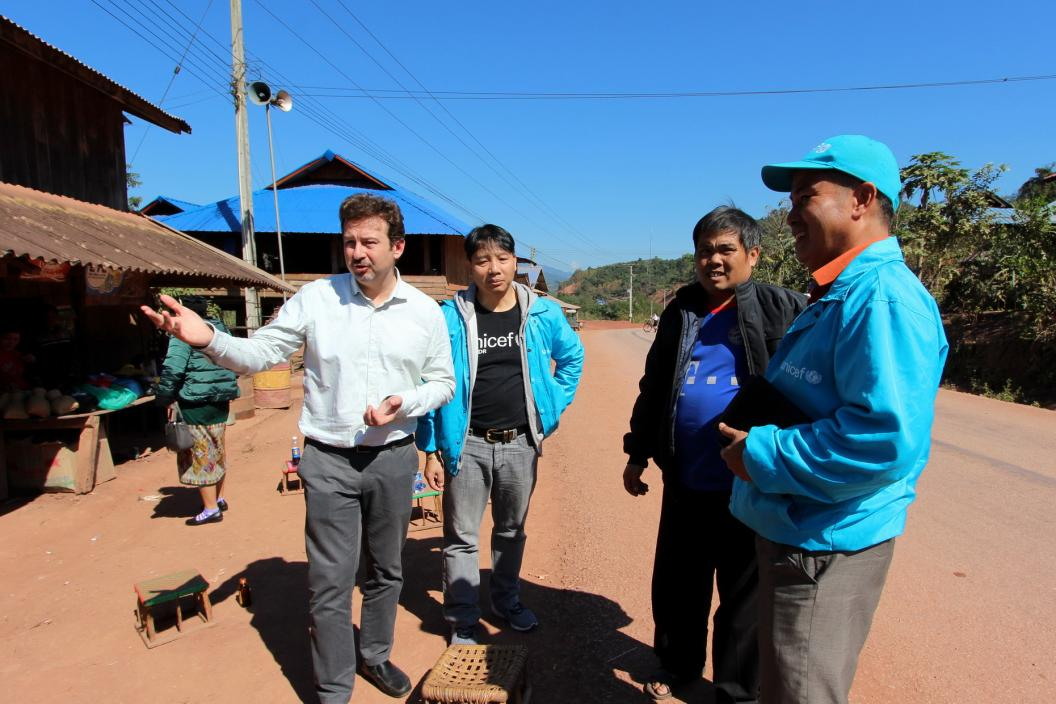 UNICEF staff visit Soumkham village, Nyotou District, Phongsaly province