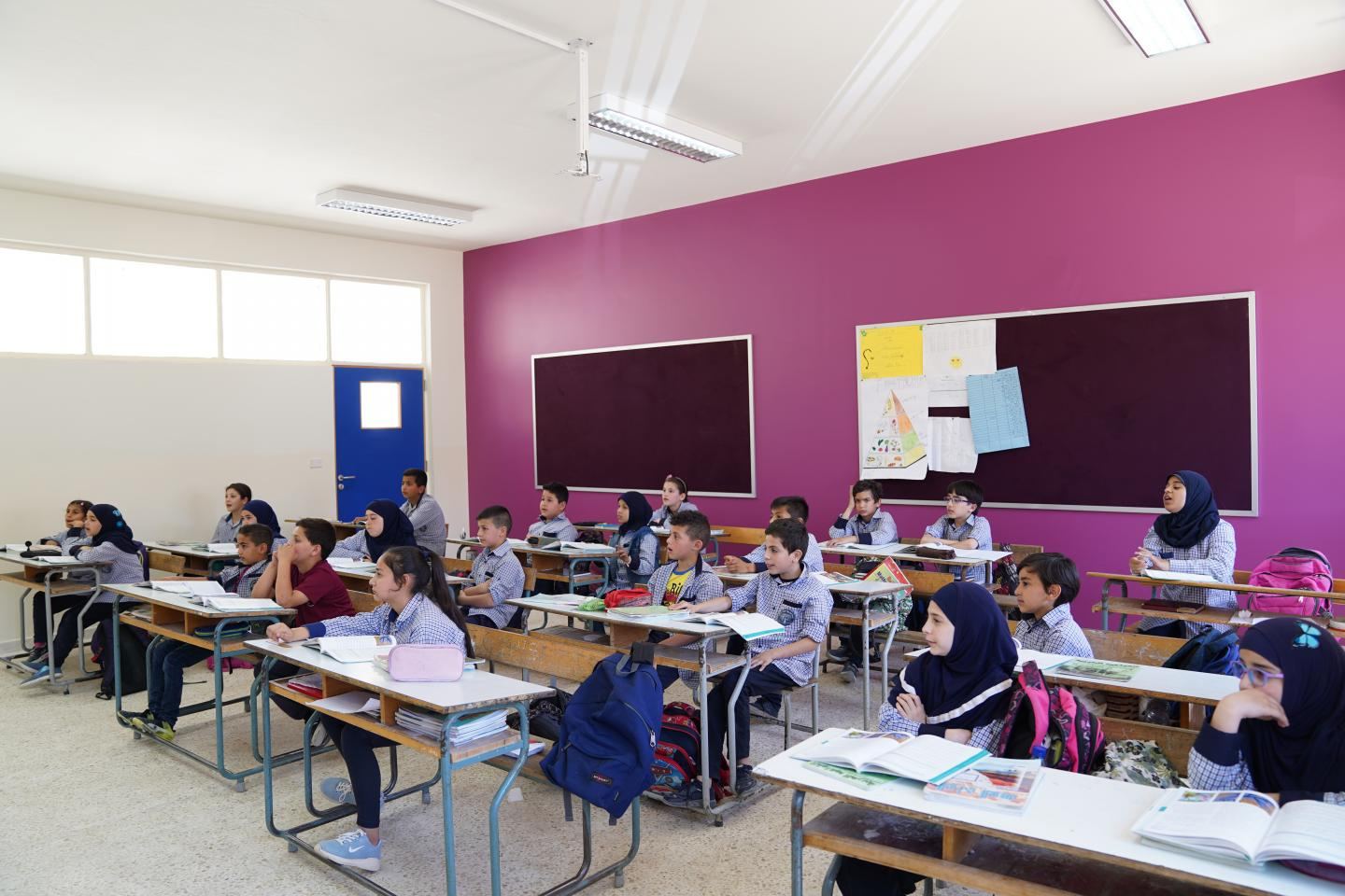 Students sitting in their newly renovated and colorful class room at Kawthariyet El Seyad Intermediate Public School
