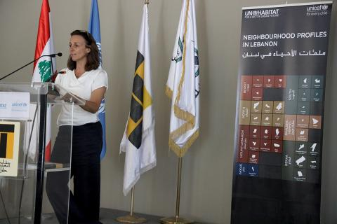 UNICEF representative Tanya Chapuisat presenting during the launch of the neighbourhood profiles