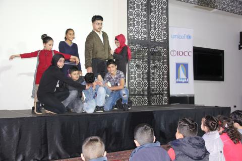 In the interactive theater event, eight 10- to 16-year-old junior committee members from Al-Masaken in El-Mina, Tripoli, played roles that raise awareness and promote positive change among the community.
