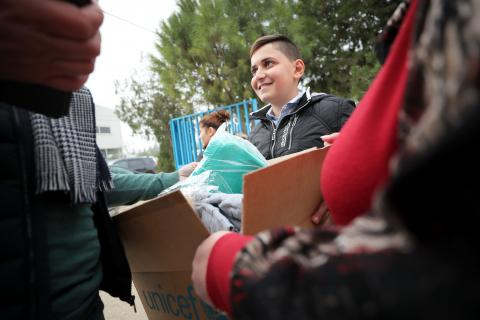 Christian, 12 years old - UNICEF is helping 140,000 children between 0 and 15 years old in hard to reach areas like Arsal and Qaa, by offering them winter clothes like gloves, scarfs, hats, boots, pajamas and jackets, so they can be warm during the harsh winter season.