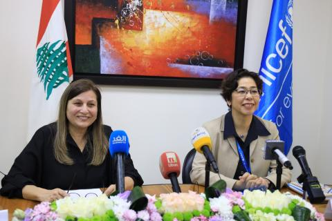 UNICEF representative in Lebanon Yukie Mokuo next to Dr. Maral Tutelian Director general of CAS