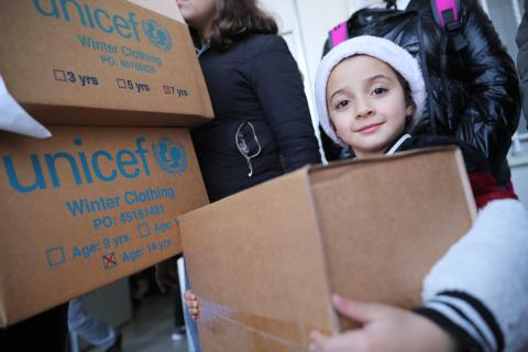 Nadine, 5 years old - UNICEF is helping 140,000 children between 0 and 15 years old in hard to reach areas like Arsal and Qaa, by offering them winter clothes like gloves, scarfs, hats, boots, pajamas and jackets, so they can be warm during the harsh winter season.