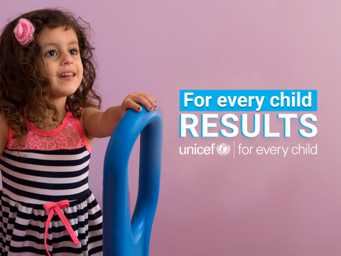 A girl in a child friendly space standing on the slide with a smile of her face. UNICEF and partners supported more than one million girls, boys, adolescents and young people across Lebanon in 2018 with health, nutrition, education and child protection services. Working in close collaboration with the Lebanese authorities, UNICEF continues to put children at the heart of its programmes, bridging humanitarian action and development work.