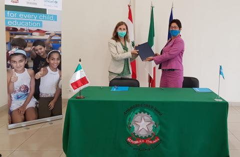 Donatella Procesi, Director of the Beirut office of the Italian Agency for Development Cooperation next to Yukie Mokuo UNICEF representative in Lebano n
