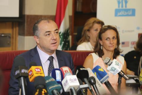 Minister Elias Bou Saab next to UNICEF representative in Lebanon Tanya Chapuisat